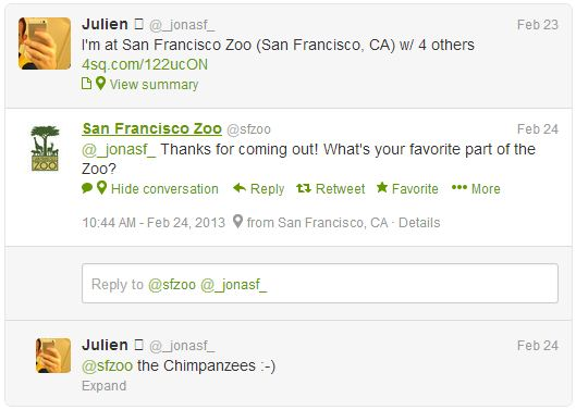 The San Francisco Zoo listens and responds to online mentions.
