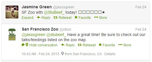 The Zoo's responses to online mentions often aim to add value to customers' experience.